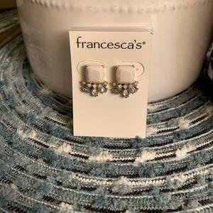 Francesca's Ivory & Iridescent Stud Earrings